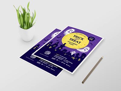 Halloween Part Flyer Design ui branding vector design typography illustration ai psd flyer template flyer design party flyer halloween