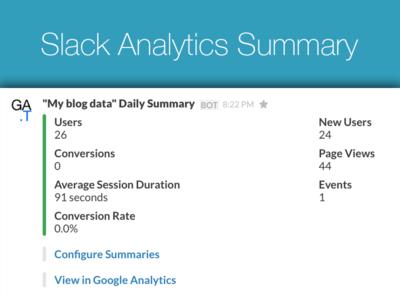 Google Analytics summary in Slack notification dashboard metrics google analytics slack
