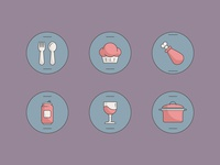 Food & Beverage Icons icons beverage kitchen turkey pot wine soda spoon fork muffin food icon