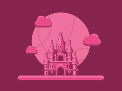 House of Dribbble mauve maroon magenta structure building vector pink illustration headquarters debut dribbble castle