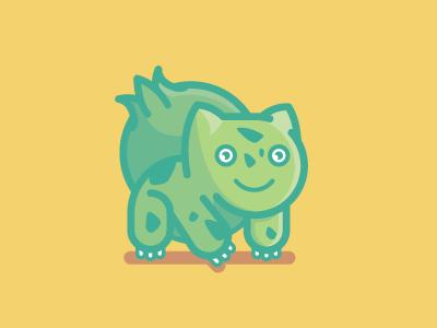 Bulbasaur starters simple vector video game gaming nintendo flat illustration bulbasaur pokemon