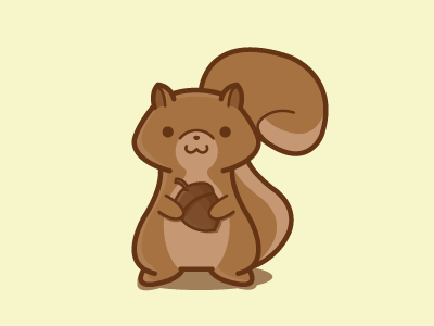 Squirrel wip adorable cute brown animal acorn rodent flat vector illustration squirrel