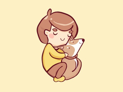 Me With My Puppy illustration vector hug cuddle human girl dog puppy