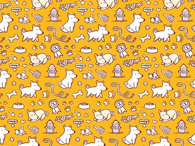 Puppy Pattern flat vector doodle illustration pattern puppy dog