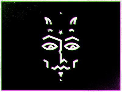 Face II illustration icon 3d devil horns face star