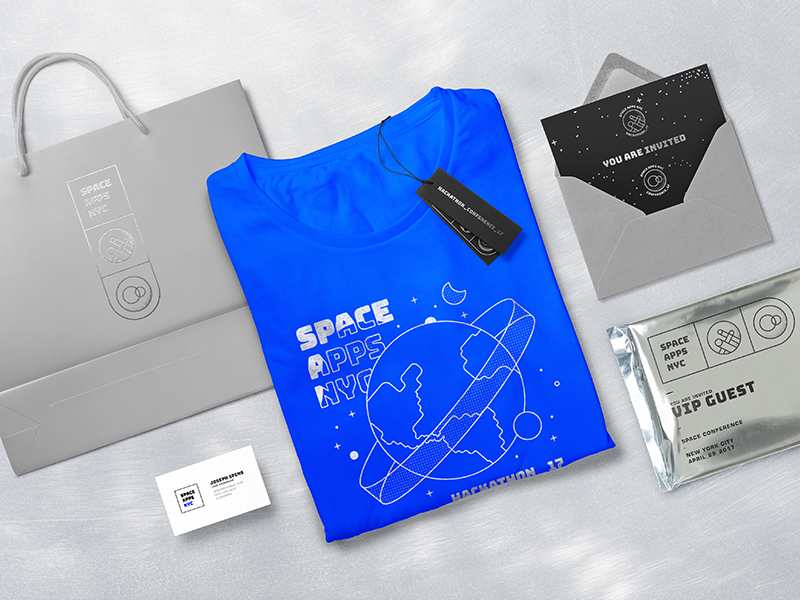 ☉ illustration earth nasa invitation hackathon mylar foil identity packaging branding nyc space