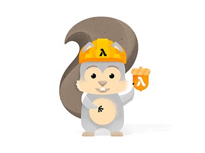 AWS  ░  LAMBDA  ░  🐿 martinie animal icon branding mascot development construction acorn illustration character squirrel lambda amazon