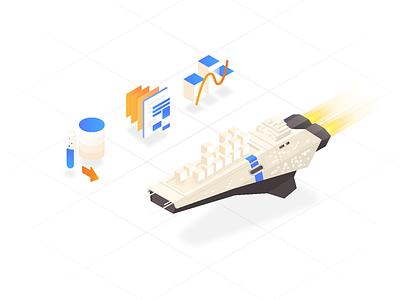 amazon ╱ isometric ① martinie aws container developer infographic ship illustration icon space iso isometric branding amazon