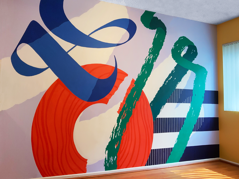 Mural #1  —  ⓁⓄⓋⒺ pattern overlay abstract blackletter script art type typography lettering painterly paint love mural
