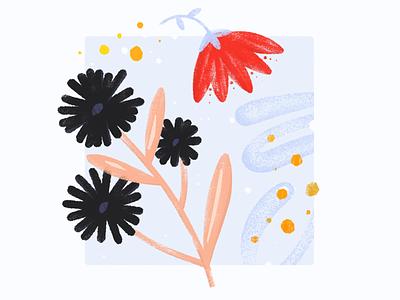 nature ➃  ⎯  ⚠ martinie procreate lettering nature flower illustration abstract botanical plant leaf pedal minimal art superbloom california floral bouquet