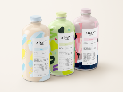 Adapt Tea Co. Packaging texture paint design adaptogen tea packaging design packaging identity vector pattern logo illustration branding