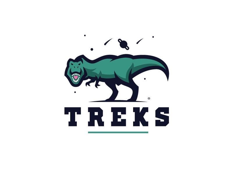 Treks sport logo branding dino trex
