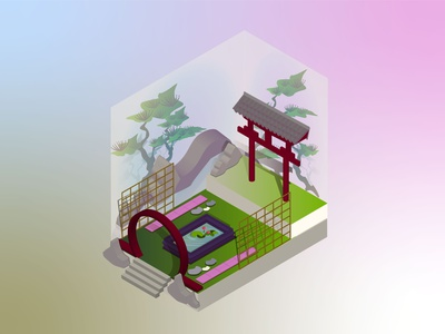 meditation place 3d isometric vector illustration