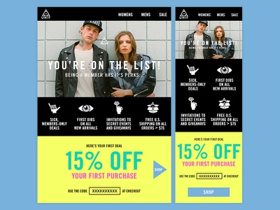 Responsive Email email discount navigation template mobile responsive clothing coupon icon offer triangle unif