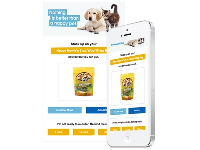 Happy Pets Product Email pets cat dog food email product cta button order responsive mobile