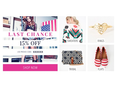 Email Sections email fashion clothing shoes handbags jewelry offer promotion code cta button grid
