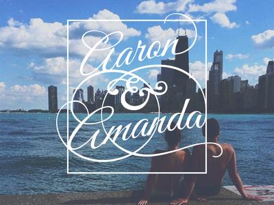 We're engaged! lake ampersand marriage wedding couple skyline city chicago typography invitation engagement