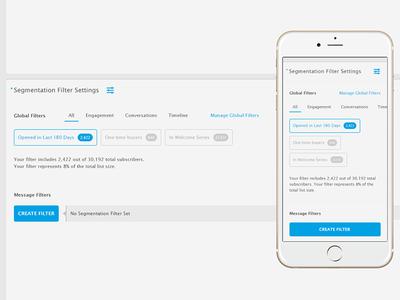 Segmentation Filters responsive mobile email message settings global ui application filters segmentation