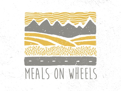 Meals On Wheels sky illustration texture road wheat hills mountains landscape wheels meals
