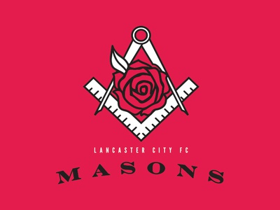 Lancaster City FC Masons pro semi masons rose red city lancaster crest soccer