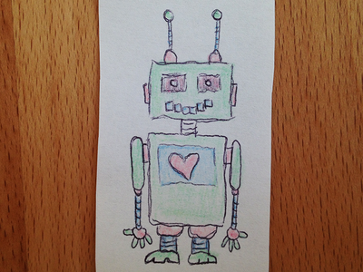 Heart Bot heart robot colored pencils sketch