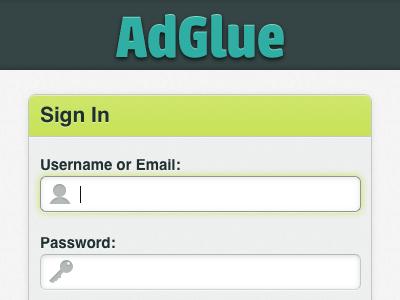 AdGlue login screen
