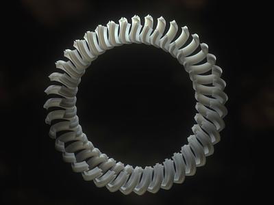 Betroth - Ghost Rings geometric octanerender spine teeth bone mograph sculpture sss 3d octane motion illustration cinema 4d c4d loop gif