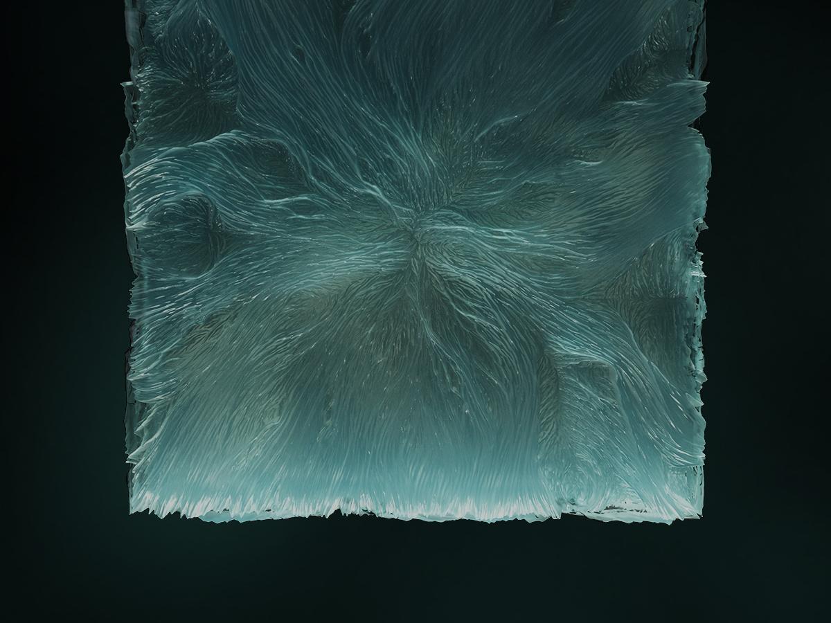 Glacial Filament — Material Study — 05.08 displacement 3dart 3d c4d terrain glacier ice octanerender lighting sculpture concept art abstract art dailyrender abstract octane cinema 4d
