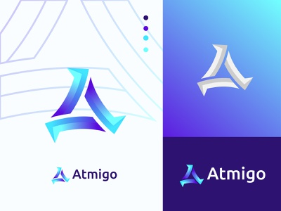 Atmigo Branding | A modern logo design - For Sale logotype logo presentation vector adobe illustrator tech logo logo designer creative logo design a unused concept premade logos good for sale a letter logo logo inspiration buy logo logo maker for sale a logo design a modern logo branding
