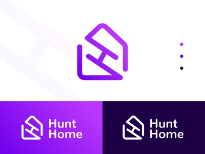 HuntHome Real Estate Logo Design | Home, House looking a logo vector creative logo flat logo identitydesign gradient logo hunt mortage property logo combined mark monogram mark h letter h logo home logo house home real estate logo realestate branding logo designer