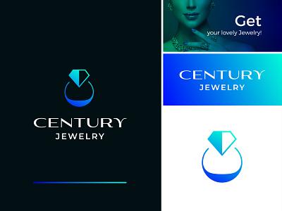 Century Jewelry - Logo Design icon jewelry shop jewelry branding logo design branding identity gradient logo sophisticated diamond abstract monogram women apparel ring beautifu elegant luxury premium fashion jewelry