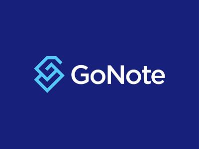 GoNote - Logo Design typography blue simple logo monogram wordmark abstract ai vector logodesigner bootstrap startup inpetor modern logo notes icon branding lettering go notepad notes note logo