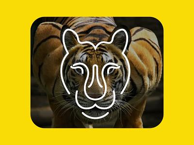 Tiger ux simple 2d flat branding yellow line art tiger lover logo mark nature dangerous leopard roar wild lion jungle royel bengal tiger tiger logo animal tiger