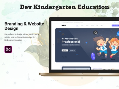Dev Kindergarten Education Template Free Download clean page landing webui free signup login website video ui ux preschool new design interaction school studio devdesign dev