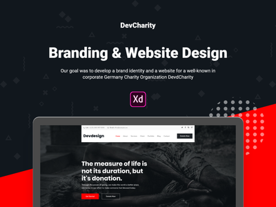 Free Dev Charity XD UI Template page builder one page landing page freebies freebie free download cryptocurrency creative corporate clean business blog agency devdesign