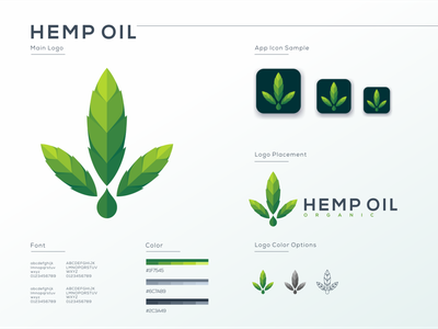 Hemp Oil flat ui ux logo typography vector app hemp oil weed cannabis marijuana cbd oil hemp