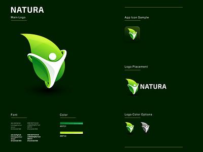 Natura graphic design minimal flat icon logo ux ui leadership organic nature leaf app