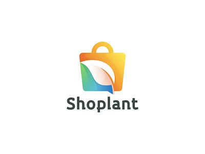 Shoplant design graphic design branding ux ui logo app leaf plant shoping shop