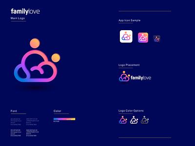Family Love illustration graphic design design flat icon branding ux ui logo app
