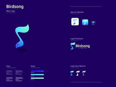 Bird Song illustration graphic design design flat icon branding ux ui logo app