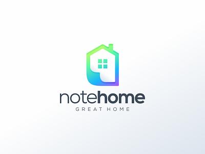 note home graphic design design flat icon branding ux ui logo app house logo home note