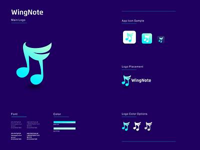 Wing Note illustration graphic design design flat icon branding ux ui logo app
