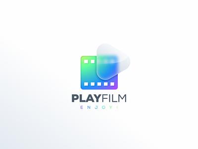 Play Film illustration graphic design design flat icon branding ux ui logo app films play film