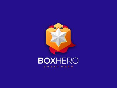 Box hero cube logo cube box logo hero logo box hero hero box vector illustration design flat branding icon ux ui logo app
