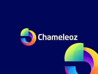 chameleoz ux vector illustration design flat icon branding ui app logo chameleon logo