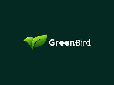 GreenBird ui ux vector illustration flat design icon branding app logo bird leaf bird natural leaf bird