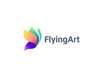 FlyingArt icon flat design vector illustration branding ux ui app logo bird design bird collor