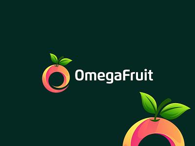 OmegaFruit app ui ux illustration design flat icon branding orange collor orange logo orange design