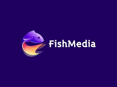 FishMedia vector illustration design flat icon branding app logo fish logo