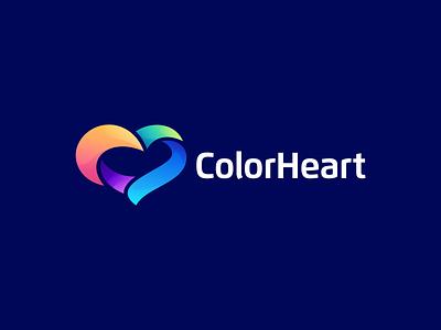 ColorHeart heartcolor logo vector illustration design flat icon branding heart icon heart design